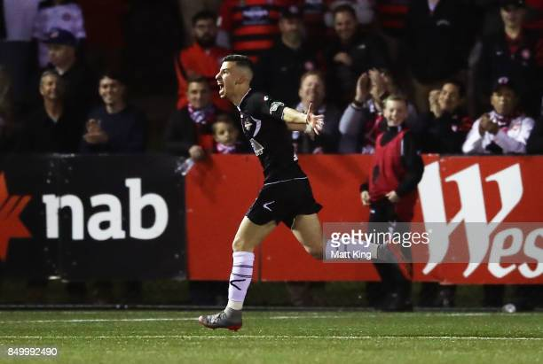 James Andrew of Blacktown City celebrates scoring a goal during the FFA Cup Quarterfinal match between Blacktown City and the Western Sydney...
