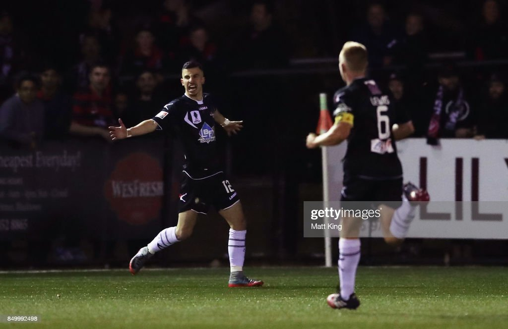James Andrew of Blacktown City celebrates scoring a goal during the FFA Cup Quarterfinal match between Blacktown City and the Western Sydney Wanderers at Lily Football Centre on September 20, 2017 in Sydney, Australia.