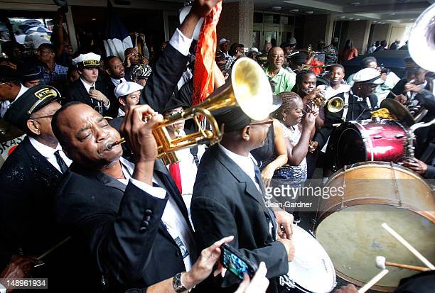 James Andrews play the trumet during a jazz funeral held for local bass drummer Lionel Batiste July 20 2012 in New Orleans Louisiana 'Uncle' Lionel...