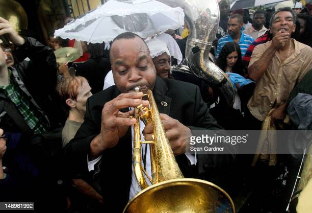James Andrews play the trumet during the jazz funeral held for local bass drummer Uncle Lionel Batiste July 20 2012 in New Orleans Louisiana 'Uncle'...