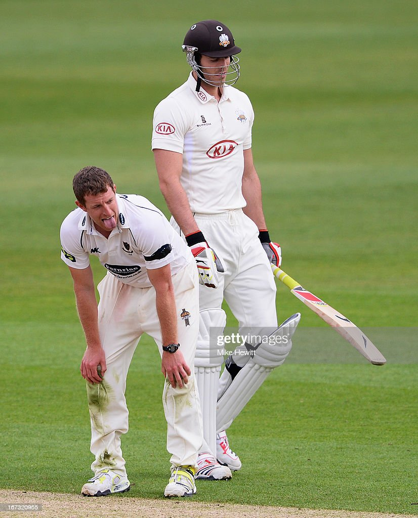 James Anyon of Sussex shows his frustration after narrowly failing to dismiss <a gi-track='captionPersonalityLinkClicked' href=/galleries/search?phrase=Chris+Tremlett&family=editorial&specificpeople=241544 ng-click='$event.stopPropagation()'>Chris Tremlett</a> of Surrey during day one of the LV County Championship Division One match between Surrey and Sussex at The Kia Oval on April 24, 2013 in London, England.