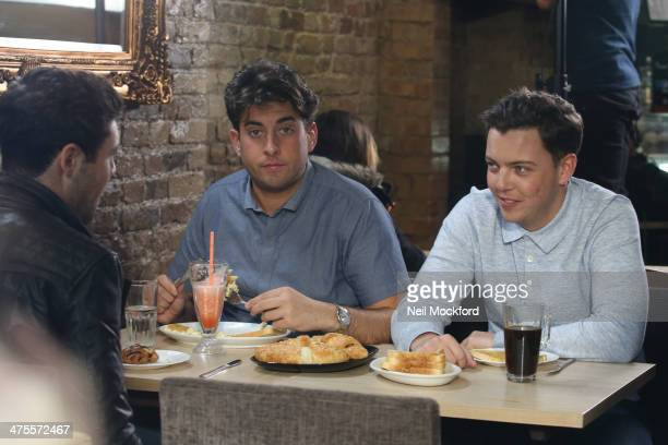 James 'Arg' Argent and James 'Diags' seen filming TOWIE in South Woodford on February 28 2014 in London England