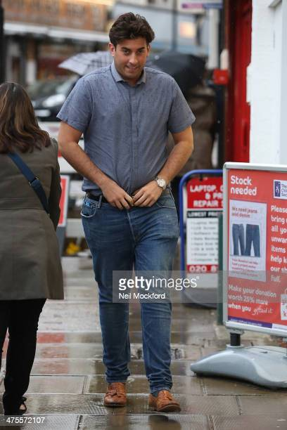 James 'Arg' Argent seen filming TOWIE in South Woodford on February 28 2014 in London England