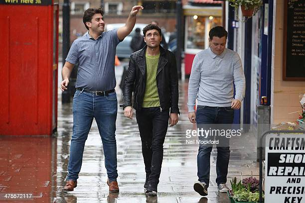James 'Arg' Argent Tom Pearce and James 'Diags' seen filming TOWIE in South Woodford on February 28 2014 in London England