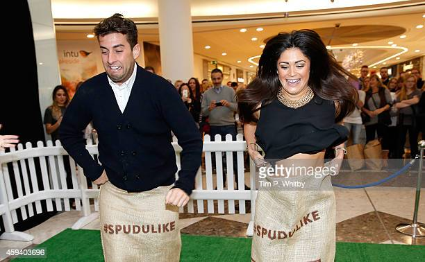 James Argent from 'The Only Way Is Essex' and Casey Batchelor celebrate a new Spudulike opening by taking part in a tradional potato sack race at...