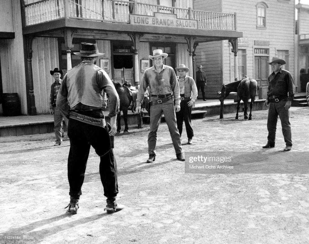 James Arness as Marshall Matt Dillon faces down a bad guy on an episode of 'Gunsmoke' circa 1965 in Los Angeles California