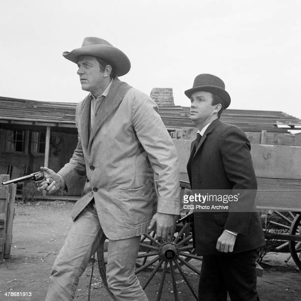 James Arness as Matt Dillon and Ben Cooper as Breck Taylor in the GUNSMOKE episode 'Breckinridge' Image dated January 15 1965