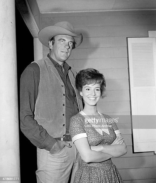 James Arness as Matt Dillon and Gigi Perreau as Lucy Benton in the GUNSMOKE episode 'Chicken' Image dated May 12 1964