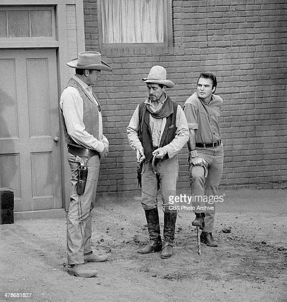 James Arness as Matt Dillon Ken Curtis as Festus Haggen and Burt Reynolds as Quint in the GUNSMOKE episode 'Circus Trick' Image dated June 8 1964