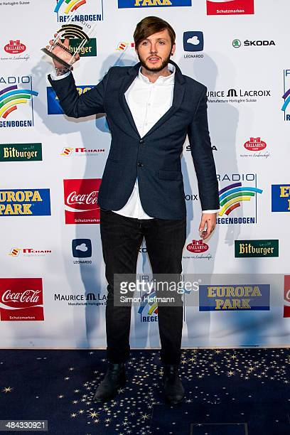 James Arthur poses with his award prior to the Radio Regenbogen Award 2014 on April 11 2014 in Rust Germany