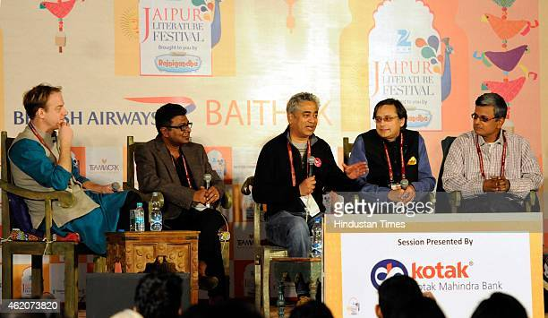 James Astill Soumya Bhattacharya Indian news presenter and author Rajdeep Sardesai and Indian politician Shashi Tharoor at a session on 'Indian...