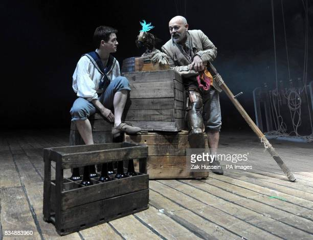 James Atherton as 'Tom Morgan' and Keith Allen as 'Long John Silver' during a photocall to promote 'Treasure Island' a new stage adaptation of Robert...