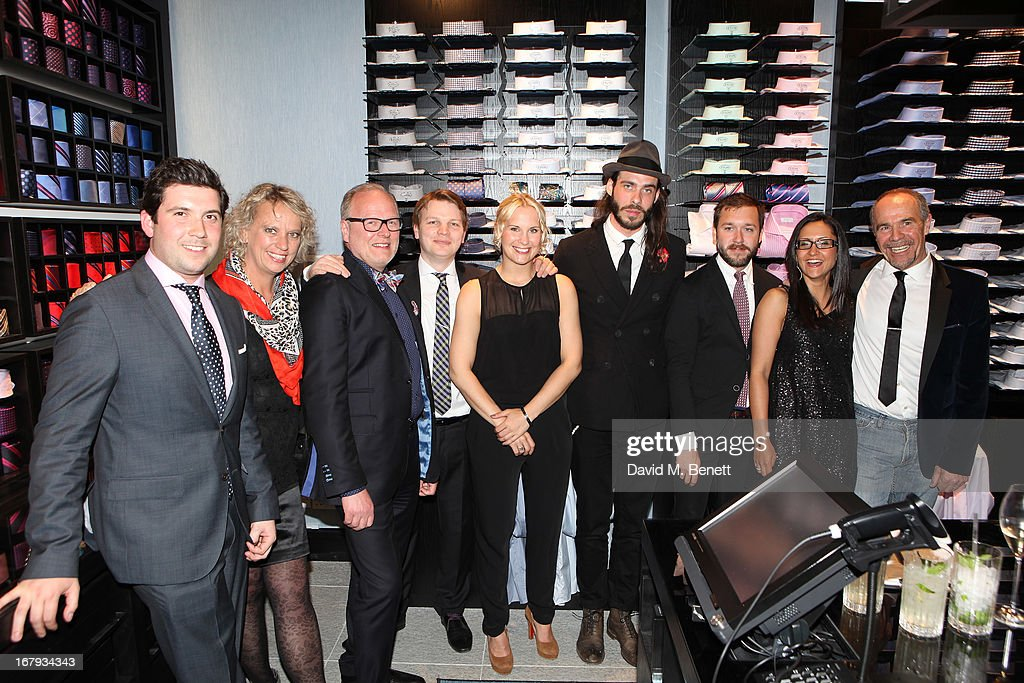 James Atkinson, Lotta Ryden, Hans Davidson, Ryan Squibb, Linn Ekerbring, Sebastian Dollinger,Gustaf Nisses, Melissa Magnusson and Jan Borghardt attend the opening of ETON shirts London flagship store on South Moulton Street on May 2, 2013 in London, England.