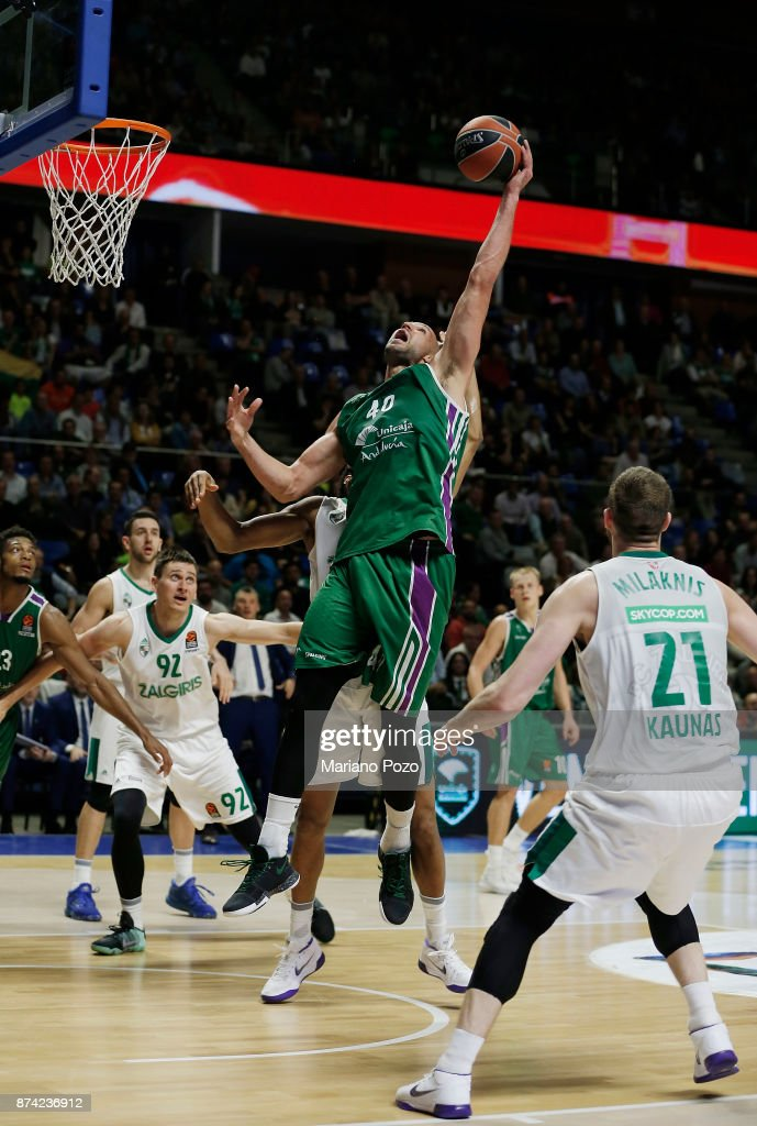 James Augustine, #40 of Unicaja Malaga in action during the 2017/2018 Turkish Airlines EuroLeague Regular Season Round 7 game between Unicaja Malaga and Zalgiris Kaunas at Martin Carpena Arena on November 14, 2017 in Malaga, Spain.