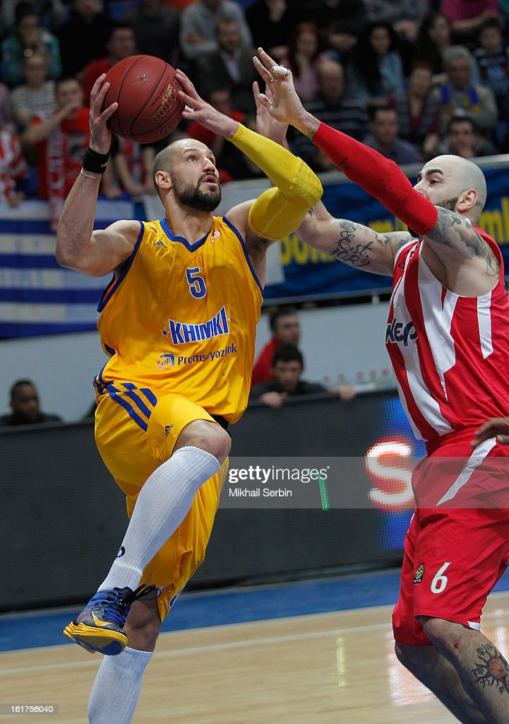 James Augustine, #5 of BC Khimki Moscow Region competes with Pero Antic, #6 of Olympiacos Piraeus during the 2012-2013 Turkish Airlines Euroleague Top 16 Date 7 between BC Khimki Moscow Region v Olympiacos Piraeus at Basketball Center of Moscow on February 15, 2013 in Moscow, Russia.