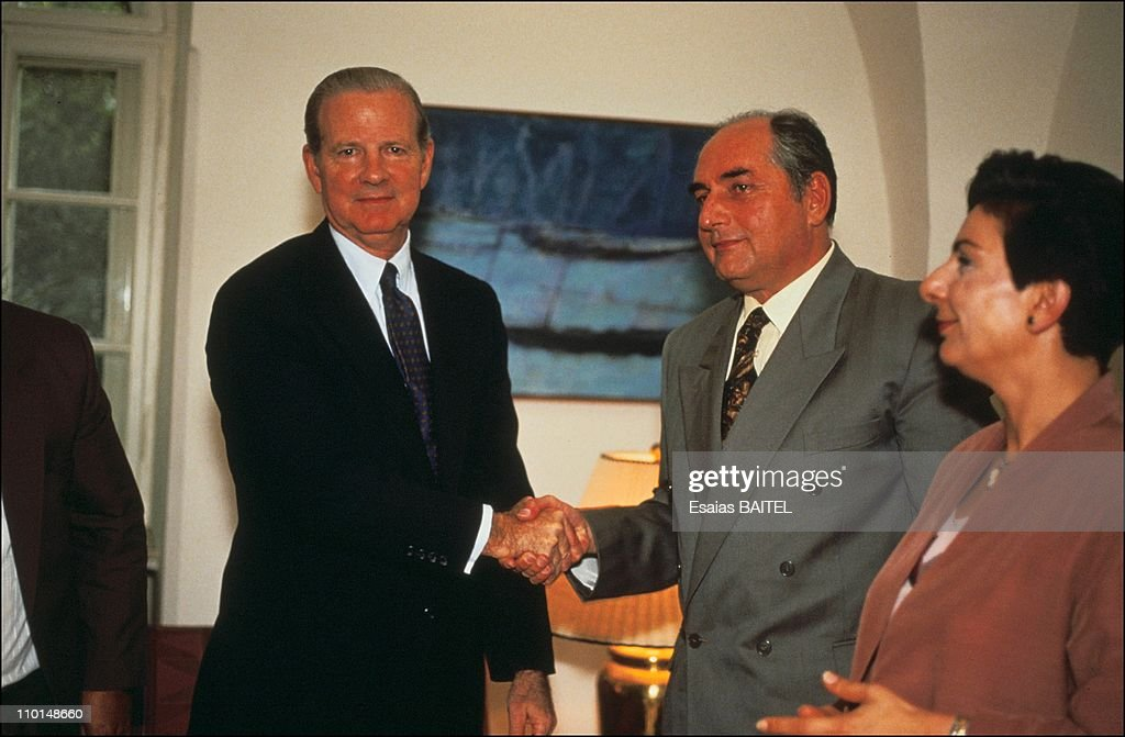 James Baker and the Palestinian leaders <a gi-track='captionPersonalityLinkClicked' href=/galleries/search?phrase=Faisal+Husseini&family=editorial&specificpeople=216413 ng-click='$event.stopPropagation()'>Faisal Husseini</a> with <a gi-track='captionPersonalityLinkClicked' href=/galleries/search?phrase=Hanan+Ashrawi&family=editorial&specificpeople=224697 ng-click='$event.stopPropagation()'>Hanan Ashrawi</a> in Jerusalem, Israel on July 21, 1991.