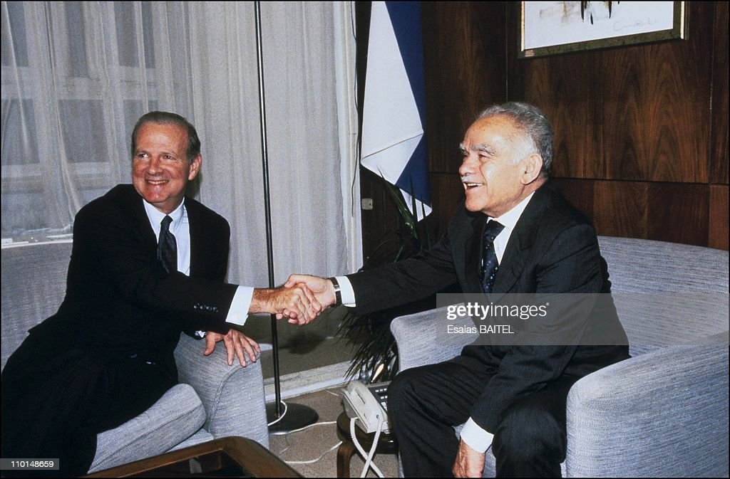 James Baker and Yitzhak Shamir in Jerusalem Israel on July 21 1991
