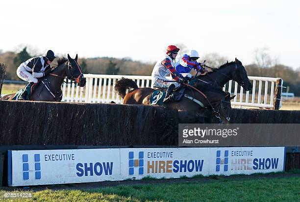 James Banks riding Arquebusier clear the last to win The TFG Group Handicap Steeple Chase at Warwick racecourse on December 08 2016 in Warwick England