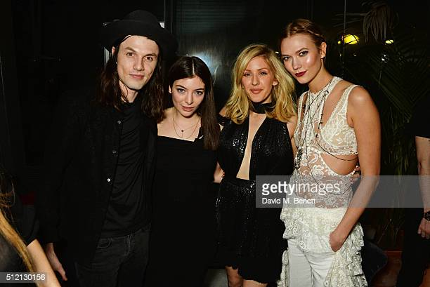 James Bay Lorde Ellie Goulding and Karlie Kloss attend the Universal Music BRIT Awards AfterParty 2016 in collaboration with Soho House on February...