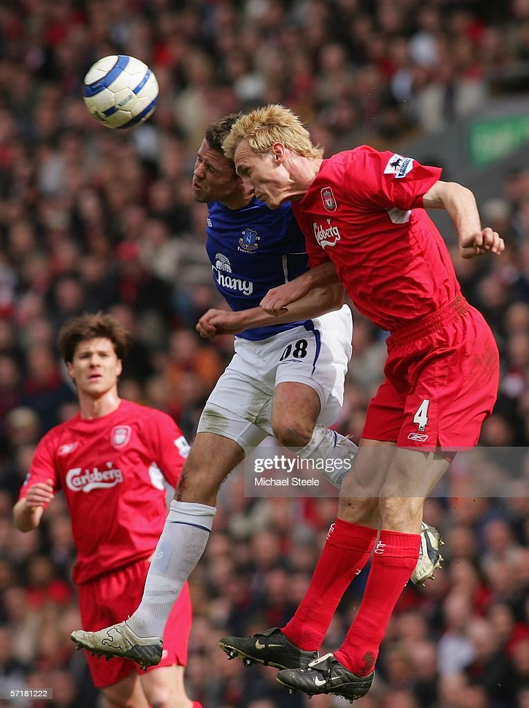 James Beattie of Everton challenges for a header with Sami Hyypia of Liverpool during the Barclays Premiership match between Liverpool and Everton at...