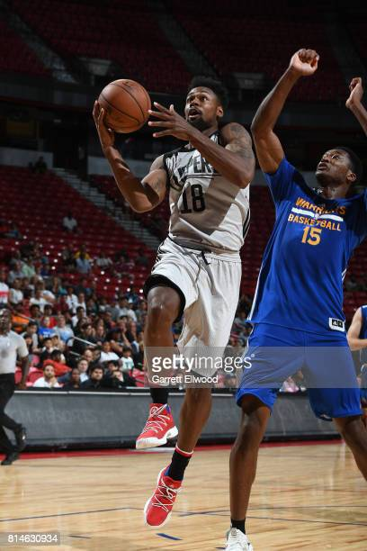 James Bell of the LA Clippers goes to the basket against the Golden State Warriors on July 14 2017 at the Thomas Mack Center in Las Vegas Nevada NOTE...