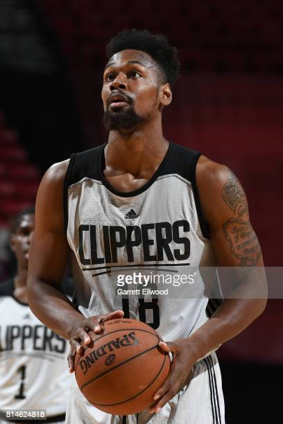 James Bell of the LA Clippers shoots a free throw against the Golden State Warriors on July 14 2017 at the Thomas Mack Center in Las Vegas Nevada...