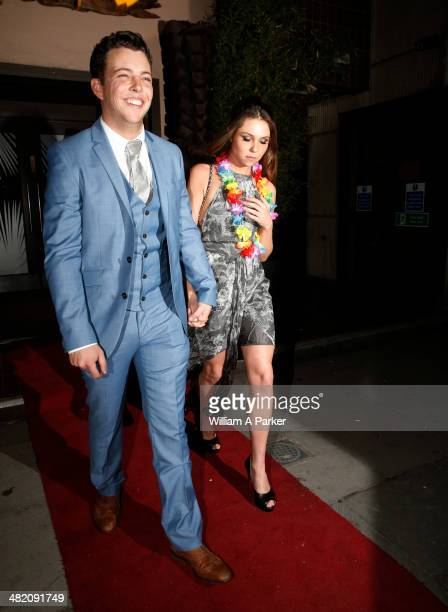 James Bennewith and Fran Parman seen leaving The Only Way Is Essex wrap party held at Kanaloa on April 2 2014 in London England