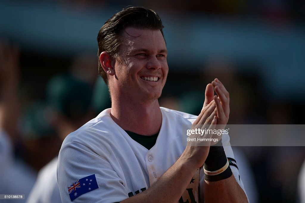 James Beresford of Australia looks on during the World baseball Classic Final match between Australia and South Africa at Blacktown International Sportspark on February 14, 2016 in Sydney, Australia.