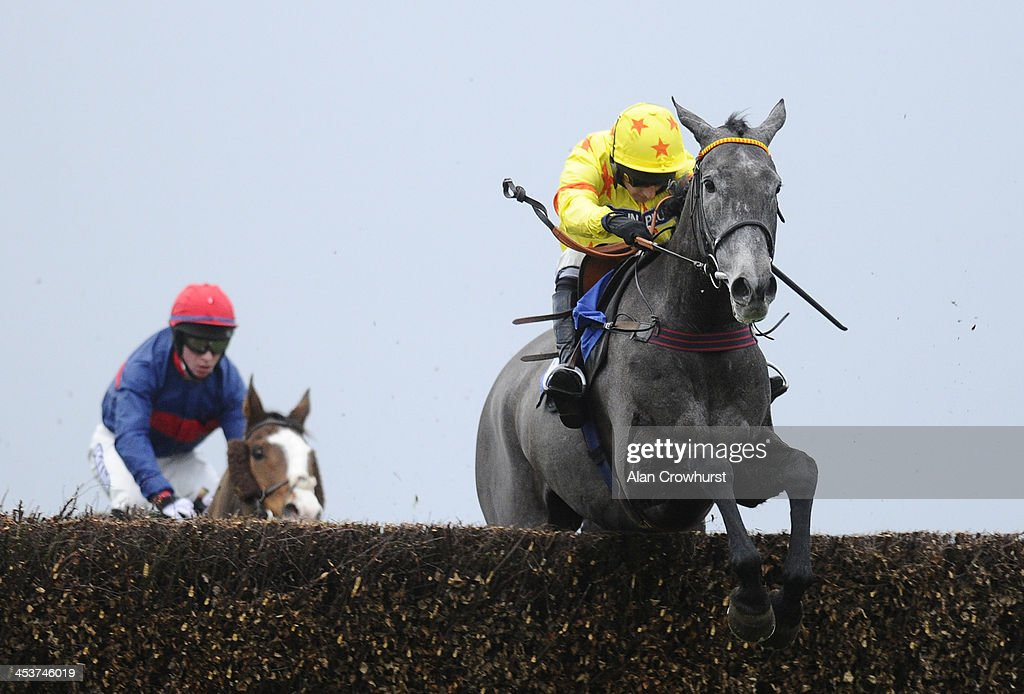 James Best riding Bincombe clear the last to win The Rewards4Racing.com Conditional Jockeys Handicap Steeple Chase at Wincanton racecourse on December 05, 2013 in Wincanton, England.
