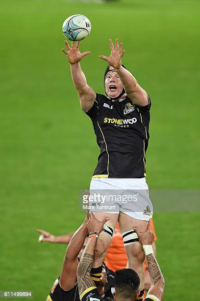 James Blackwell of Wellington Lions catches line out ball during the round seven Mitre 10 Cup match between Wellington and Southland at Westpac...