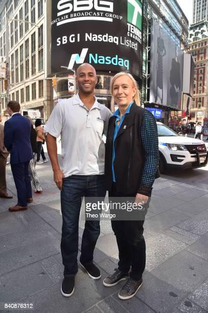 James Blake and Martina Navratilova at the Tennis Channel Rings The Nasdaq Stock Market Opening Bell at NASDAQ MarketSite on August 30 2017 in New...