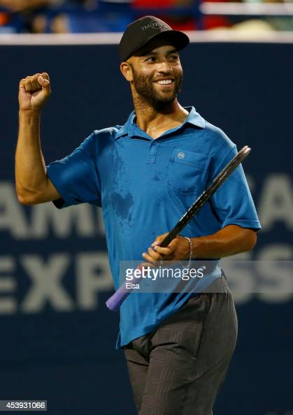 James Blake celebrates his break point win over Andy Roddick during the Legends match during the Connecticut Open at the Connecticut Tennis Center at...