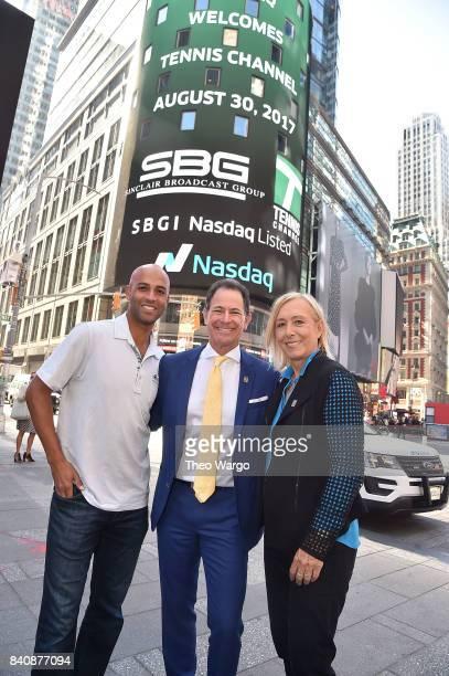 James Blake Ken Solomon and Martina Navratilova at the Tennis Channel Rings The Nasdaq Stock Market Opening Bell at NASDAQ MarketSite on August 30...