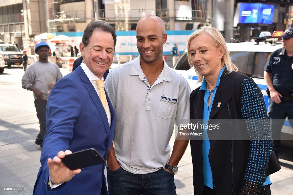 James Blake, Ken Solomon and Martina Navratilova at the Tennis Channel Rings The Nasdaq Stock Market Opening Bell at NASDAQ MarketSite on August 30, 2017 in New York City.