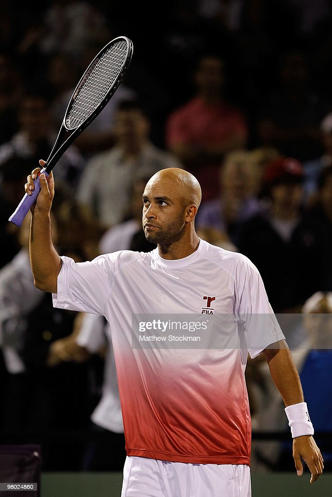 James Blake of the United States celebrates after defeating Filip Krajinovic of Serbia during day two of the 2010 Sony Ericsson Open at Crandon Park Tennis Center on March 24, 2010 in Key Biscayne, Florida.
