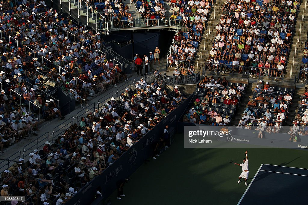 James Blake of the United States serves against Peter Polansky of Canada during his men's singles match on day four of the 2010 US Open at the USTA...