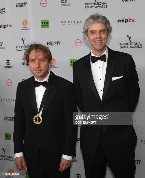 James Bluemel and Will Anderson of the documentary Exodus Our Journey to Europe arrive for the 45th International Emmy awards gala in New York city...