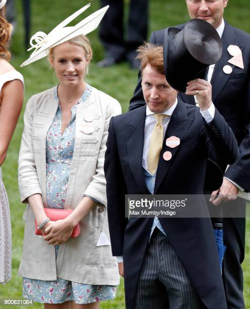 James Blunt doffs his top hat to Queen Elizabeth II as he and wife Sofia Wellesley attend day 5 of Royal Ascot at Ascot Racecourse on June 24 2017 in...