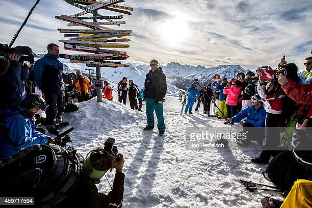 James Blunt surrounded by fans and media on a mountain in Ischg during the 'Top Of The Mountain Concert' on November 29 2014 in Ischgl Austria