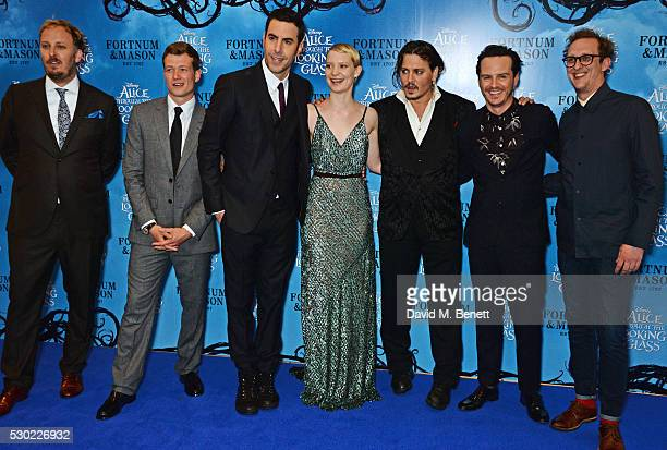 James Bobin Ed Speleers Sacha Baron Cohen Mia Wasikowska Johnny Depp Andrew Scott and Leo Bill attend the European Premiere of 'Alice Through The...