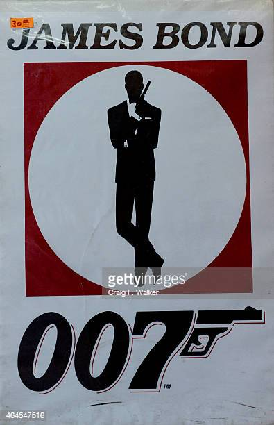 James Bond poster is displayed at Hollywood Posters at his shop on Colfax Ave in Denver CO February 26 2015 Owner John Caruso has decided to close...