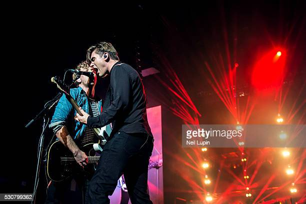 James Bourne and Charlie Simpson of Busted perform on stage during the opening night of the Pigs Can Fly tour at the SSE Arena Wembley on May 11 2016...