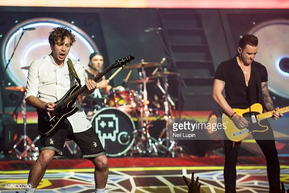 James Bourne and Danny Jones of McBusted perform on stage at The O2 Arena on April 4 2015 in London England