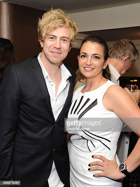 James Bourne and Manal Morrar attend an after party following the press night performance of 'Urinetown' in the Stalls Bar at The Apollo Theatre on...