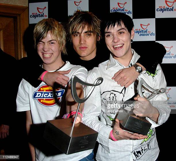 James Bourne Charlie Simpson and Matt Jay of Busted winners of the Favorite UK Group and The News of The World Favorite Pop Act