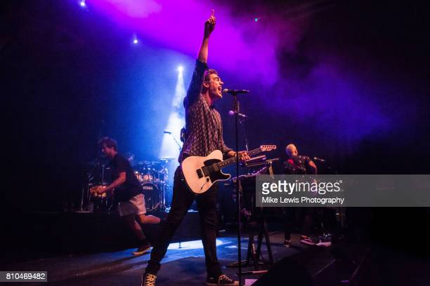James Bourne Charlie Simpson and Matt Willis of Busted perform at Cardiff University on July 7 2017 in Cardiff Wales