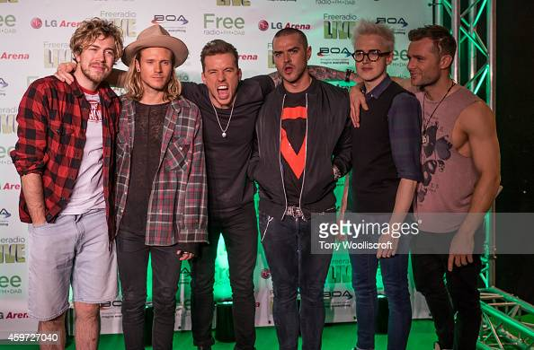 James Bourne Dougie Poynter Danny Jones Matt Willis and Tom Fletcher and Harry Judd of McBusted performs at Free Radio Live 2014 at LG Arena on...