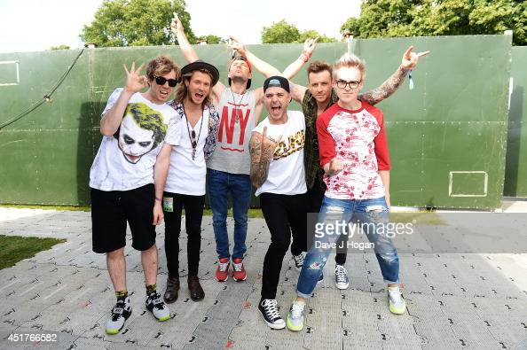 James Bourne Dougie Poynter Harry Judd Matt Willis Danny Jones and Tom Fletcher of McBusted backstage at British Summer Time Festival at Hyde Park on...