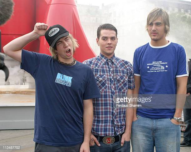 James Bourne Matt Jay and Charlie Simpson of Busted