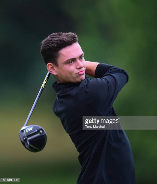 James Brady of Wisley Golf Club plays his first shot on the 1st tee during the Golfbreakscom PGA Fourball Championship South Qualifier at Surbiton...